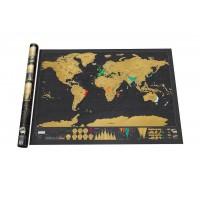 MAPPA del MONDO da GRATTARE -  PREMIUM Deluxe Edition con Astine e Ganci Portaposter per Fissaggio  Nero/Oro